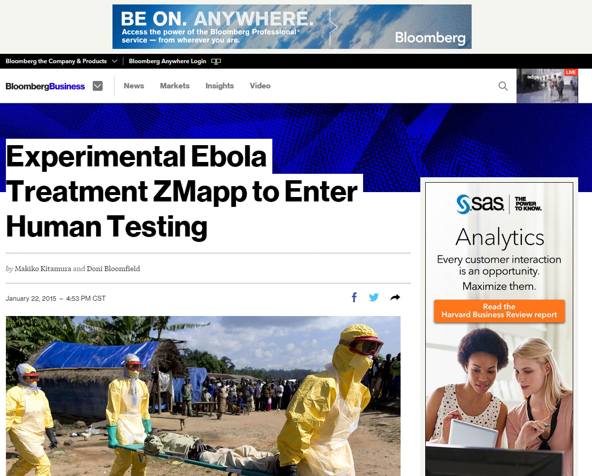 Experimental Ebola Treatment Zmapp To Enter Human Testing