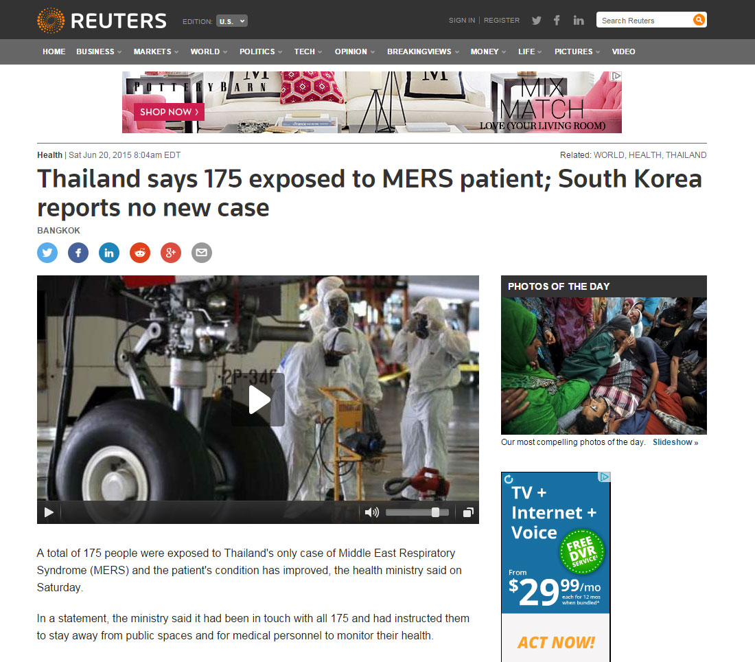 Thailand Says 175 Exposed To Mers Patient; South Korea Reports No New Case
